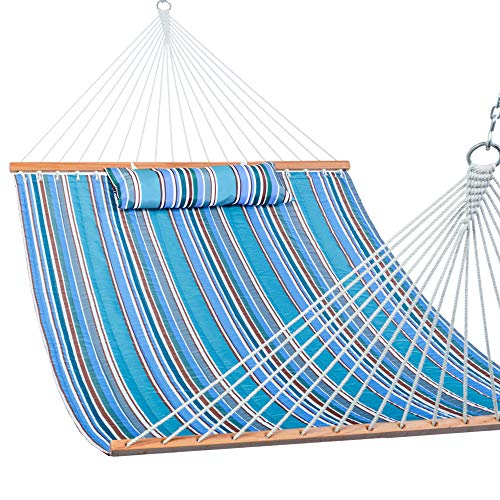 Lazy Daze Hammocks Quilted Fabric Double Hammock with Pillow, Spreader Bar...