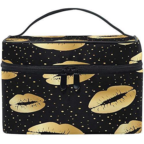 Golden Lips Women Travel Makeup Bag Portable Cosmetic Train Case Trousse de toilette Beauty Organizer