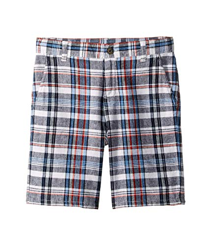 Janie and Jack Boy's Linen Flat Front Shorts (Toddler/Little Kids/Big Kids) Grey/Red Plaid 8 (Big Kids)