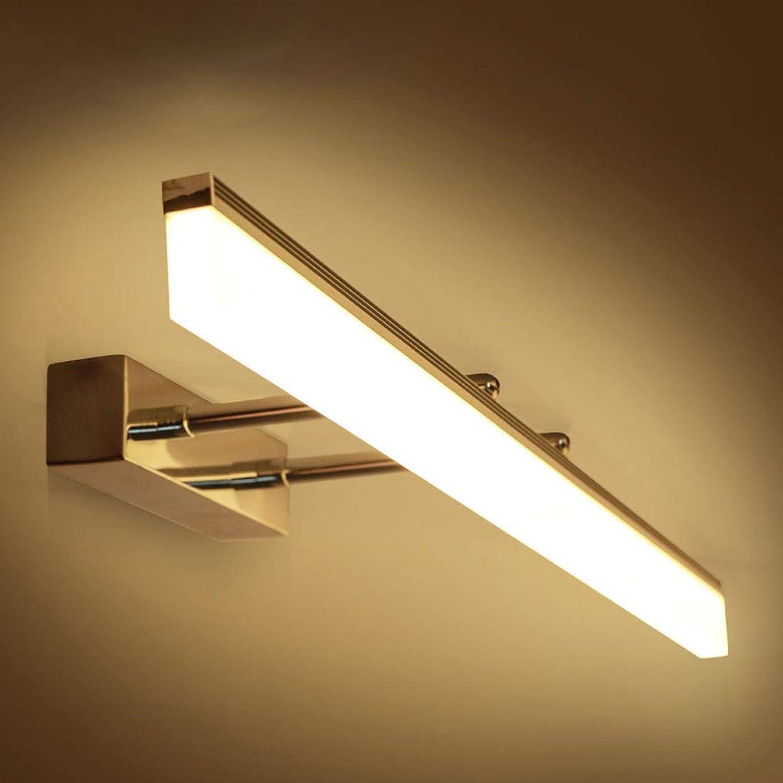 LED Spiegelleuchte IP44 Wasserdicht Badezimmer Spiegellampe Modern Wandleuchte Einstellbar Teleskopisch Schminklicht Dimmbar 3-Farben-Licht Edelstahl Schminktisch Spiegelschrank Leuchte Chrom,80cm16W