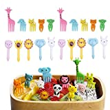 Fellibay Food Fruit Fork Cake Forks Dessert Forks Child Animals Mini Cartoon Toothpick Bento Lunch for Sandwich, Appetizer, Cocktail Picks Party Supplies 18 or 20 pcs (A type-20pcs)