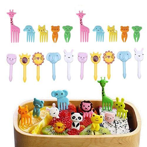 Fellibay Mini-Gabeln und Spießchen für Lebensmittel, Obst, Kuchen, Party-Zubehör, Cartoon-Motiv: Tiere, Type-20pcs