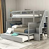 Twin Over Full Bunk Bed with Trundle and Stairs, WeYoung Wood Stairway Twin/Full Bed Frame with Storage and Safety Rails (Gray)