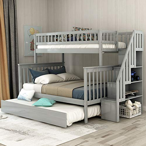 Twin Over Full Stairway Bunk Bed for Kids with Trundle & 4 Storage Drawers in Staircase, Finish (Grey)