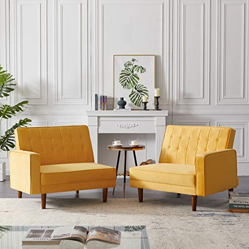 æ— Convertible Sectional Sofa Couch Bed, Folding Futon Sleeper Sofa Bed Modern Convertible Split Couches for Living Space Apartment Dorm, Yellow,78.7x34.6x32.7 inches