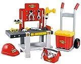 Jouets Ecoiffier – 2379 - Ensemble Établi + caisse à outils + diable pour enfants Mecanics – Jeu de bricolage – 22 pièces – Dès 18 mois – Fabriqué en France