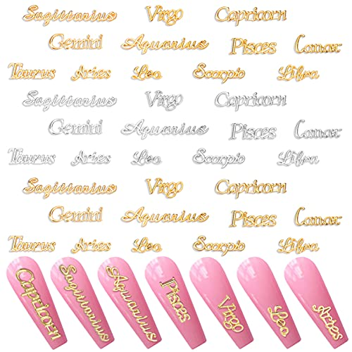 Palksky Nail Charms, 96 Pieces Alloy Zodiac Word Message Nail Charms in 12 Styles, 12 Constellations Designer Charms for Jewelry Making Epoxy Resin Filling Supplies (Gold and Siliver)