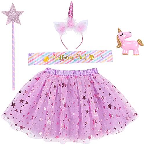 Tacobear Unicorno Gonna Tulle Tutu Bambina con Cerchietto Unicorno Spilla Sash Compleanno Bacchetta di Stella Costume Unicorno Vestito Principessa Fata Carnevale Festa per Bambini