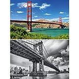 GREAT ART 2er Set XXL Poster – Golden Gate & Brooklyn