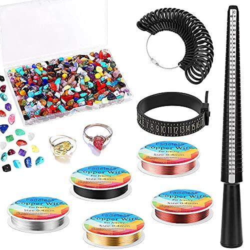 MMDOCO Kit per la creazione di anelli, kit per la creazione di gioielli con mandrino per anelli, misuratore per anelli, misuratore per dita, filo per gioielli e perline in pietra di cristallo