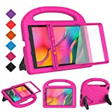 BMOUO for Samsung Galaxy Tab A 8.0 Case 2019 SM-T290/T295, Tab A 8.0 2019 Case with Screen Protector, Shockproof Light Weight Handle Stand Galaxy Tab A 8.0 inch 2019 Kids Case Without S Pen - Rose