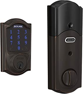 Schlage Lock Company BE469ZP CAM 716 Schlage Connect Smart Deadbolt with alarm with Camelot Trim in Aged Bronze, Z-Wave Plus enabled,