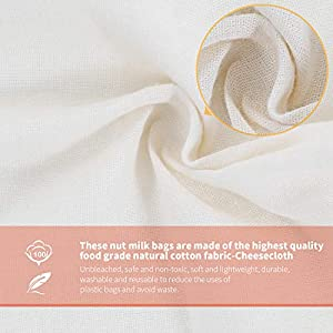 """Nut Milk Bags, All Natural Cheesecloth Bags, 8""""x10"""", 10''x12, 14''x14'', 3 Pack, 100% Unbleached Cotton Cloth Bags for Cheese/Yogurt/Juice/Herbs, Washable Reusable Almond Milk Strainer(Weave 66x70) 