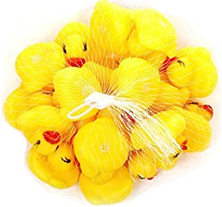 Swimming Water Toys Pack 20 Soft Floating Rubber Duck Squeeze Sound Squeaky Bath Toy For Baby Bath