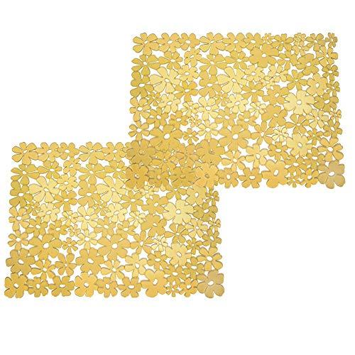 mDesign 2er-Set Spülbeckeneinlage zum Zuschneiden – große Spülbeckenmatte für die Küche – zuschneidbare Matte aus PVC für Geschirr & Becken – mit Blumenmuster – gelb
