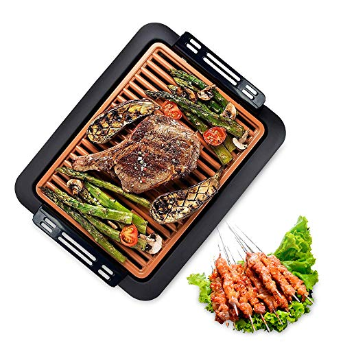 QYXM Electric Smokeless Grill, Indoor Barbecue Grill Smokeless Grill Indoor Barbecue with Non-Stick Coating/Easy to Clean, 5 Adjustable Temperature Contror - 1000W