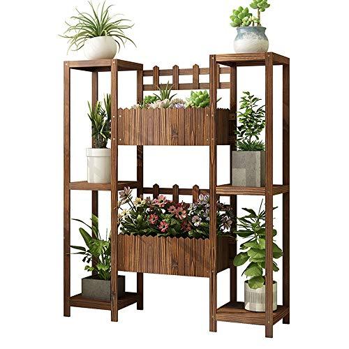 WOF Massivholz-Blumenständer - Bodenständer Mehrschichtiger Balkon-Topfständer Innen- und Außenblumentrogregal Holzpflanzensamen-Box for Garten-Innen-Außen-Terrassenbalkon-Rasen