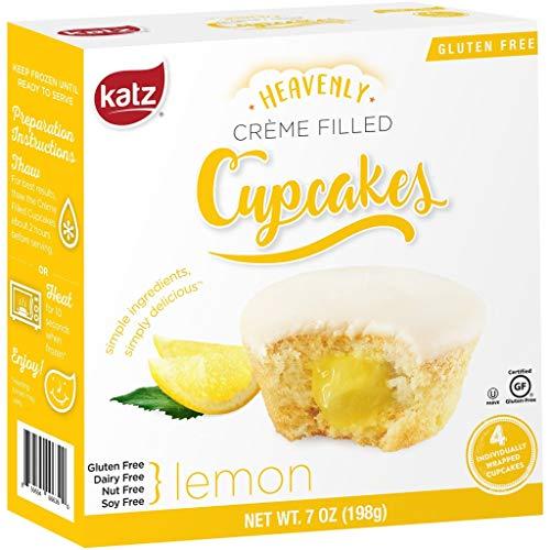 Katz Gluten Free Lemon Crème Filled Cupcakes | Dairy Free, Nut Free, Soy Free, Gluten Free | Kosher (1 Pack of 4 Crème Cupcakes, 7 Ounce)