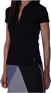 GOLFTINI Short Sleeve Stretch Cotton Button Polo - Black