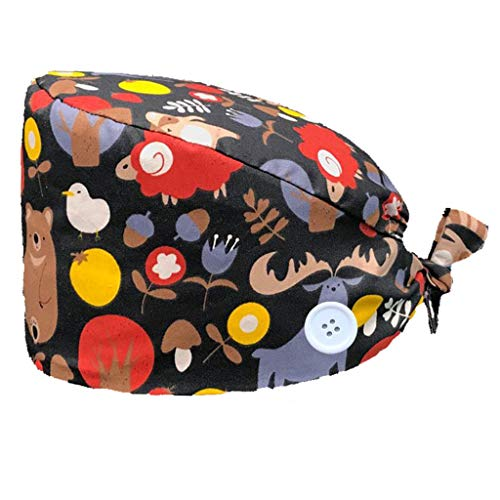 crazy bean Unisex 100% Algodón Gorro de Turbante con el Botón Ajustable Transpirable Gorro de Trabajo con Banda de Sudor Belleza para Mujeres Niñas
