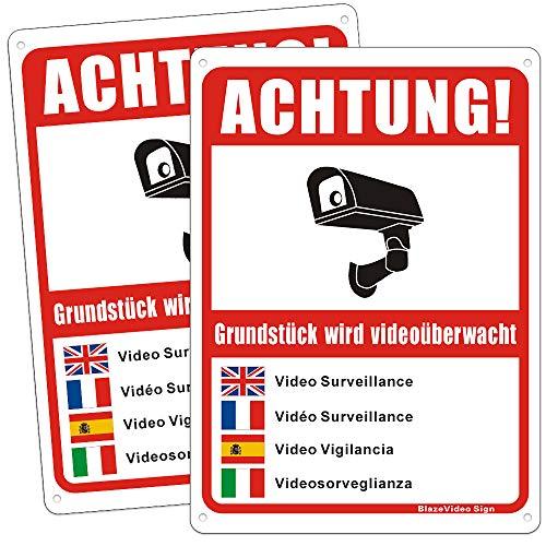 2 Pièces Vidéo Plaque Supervisée de Signe de Sécurité Multilingue de Vidéo Surveillance Signée, Platte D'avertissement de Caméra de Sécurité - Taille 7 X 10
