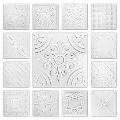 Hexim Styropor Deckenplatten - große Auswahl 50x50cm XPS Wand- und Deckenverkleidung 2 qm Platten Dekor formfest NR.33