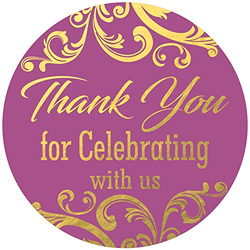 """Thank You for Celebrating with us Stickers Seals Labels (Pack of 120) Stunning Gold Foil Stamping 2"""" Large Round - Purple"""
