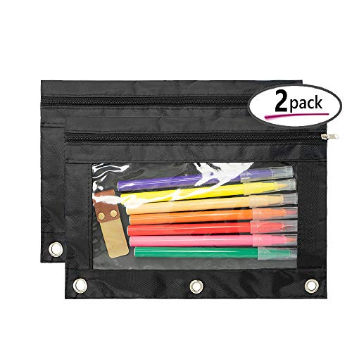 3 Ring Binder Pencil Pouch with Clear Window(Black - 2 pcs)
