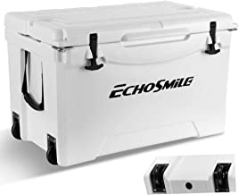 EchoSmile 75 Quart Rotomolded Ice Cooler with Wheels, Portable White ice Chest,120-Can Capacity, Built-in Bottle Opener, Bottle Holder, Great Gift for Golf, Camping, Picnic, Outdoor Fishing