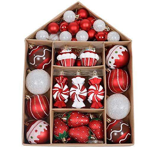 Valery Madelyn Palle di Natale 70 Pezzi di Palline di Natale, 3-6 cm Tradizionali Ornamenti di Palla di Natale Infrangibili Rossi e Bianchi per la Decorazione Dell'Albero di Natale