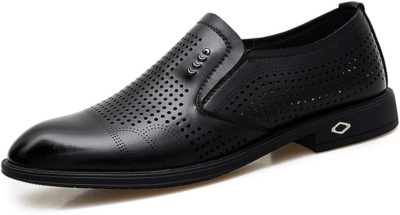 DINGGUANGHE-schuhe Lackleder Lackleder Herren Business Bequeme Oxfords Casual Mikrofaser weiches Leder rutschfeste atmungsaktive Hohle Schuhe Abendgarderobe Dress Schuhe (Farbe   Schwarz, Größe   39 EU)  praktisch