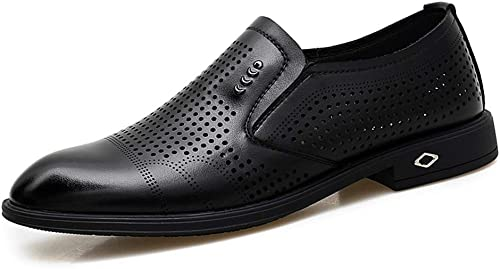 YIJIAN-schuhe Herren Oxford Schuhe Herren Business Bequeme Oxfords Casual Mikrofaser Weißhes Leder rutschfeste atmungsaktive Hohle Schuhe Kleid Oxford Schuhe (Farbe   Schwarz Größe   44 EU)