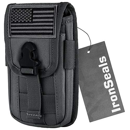 IronSeals Tactical Cell Phone Holster Pouch, Tactical Smartphone Pouches EDC Cellphone Case Utility Gadget Bag Molle Attachment Belt Holder Waist Bag with US Flag Patch (Grey)