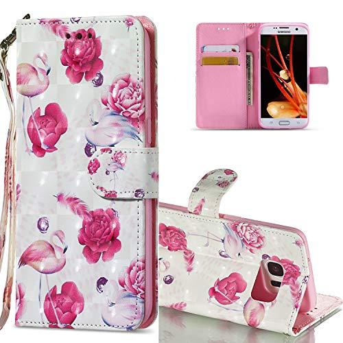 HMTECH Galaxy S7 Edge Coque 3D Luxu Fleur de Flamant Rose Slim Housse Étui PU Cuir Housse Coquille Couverture Magnétique Stand Compatible with Samsung Galaxy S7 Edge,KT Flamingo Flower