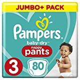 PAMPERS Baby-Dry Pants tamaño 3, pañales, con canales de aire, 3Pack (3x 80unidades)