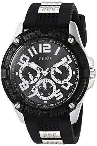 Guess GW0051G1 Herenhorloge, zwarte wijzerplaat met gestructureerde siliconen armband met zilveren inzetstukken