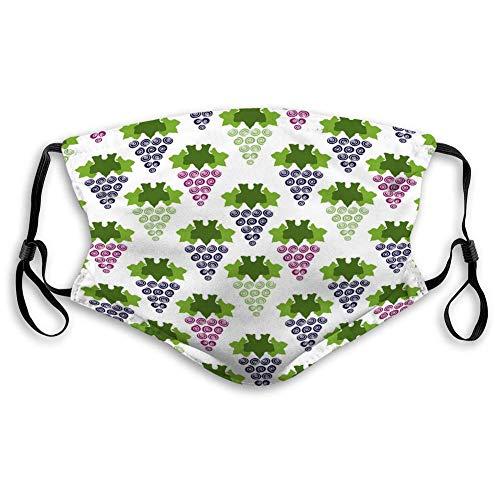 Nonbrand Unisex-Gesichtsmaske, Vollabdeckung, Bandanas, Gesichtsschutz, waschbar, wiederverwendbar, Weintrauben und Obst, einfarbig, nahtlos