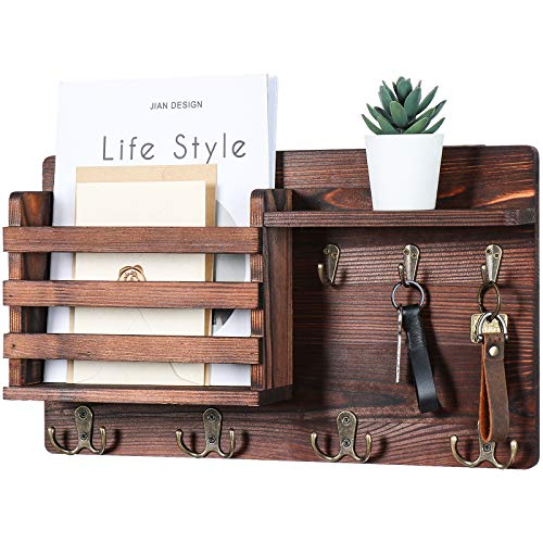"""Mail Holder for Wall – Mail Organizer with Key Hooks for Hallway Kitchen Farmhouse Decor – Letter Sorter Made of Natural Pine with Floating Shelf and Flush Mount Hardware 168"""" x 10"""" x 32"""""""