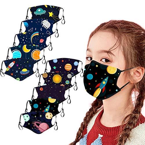 Kinder Bunt Stoff Mund-Nasen-Schutz Set, 5/10 Stück Waschbar Baumwolle Cartoon Animal Print Atmungsaktive Weich Stoffschutz Mit Ohrschlaufen, Tiermotiv Mund Bedeckung für Jungen Mädchen (E, 10PC)