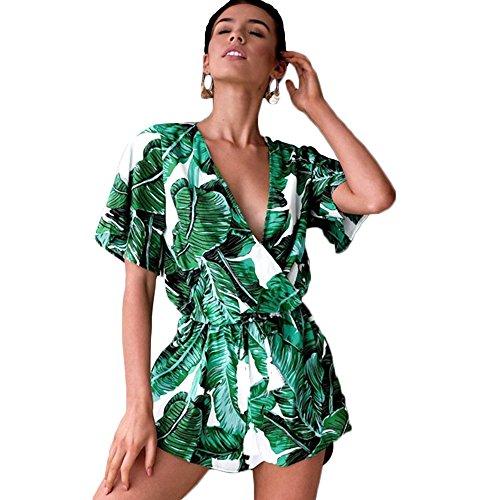 Tabanlly Vrouwelijke Casual Jumpsuit - Vrouwen Diepe V-hals Korte Mouwen Groen Bladeren Print Playsuits voor Zomer Strand