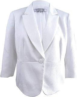 203b6ea9e6bee1 Kasper Women's Plus Size Textured 3/4-Sleeve Blazer (18W, Lily White