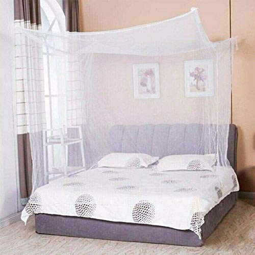 LJQLXJ Mosquitera New Lace Bed Mosquito Net 4 Corner Post Bed Canopy Princess Full Size Futon Net 190x90x145cm,White