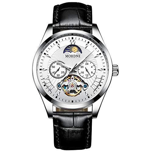 Reloj automático para Hombre, Esfera esquelética con Correa de Cuero Reloj de Cuerda automática de diseño clásico -A