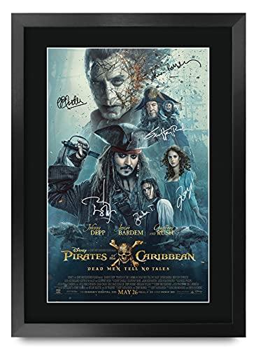 HWC Trading FR - Póster impreso de piratas del Caribe, 5 hombres muertos con texto en inglés 'Tell No Tales Jonny Depp' para fans de la película, A3 enmarcado