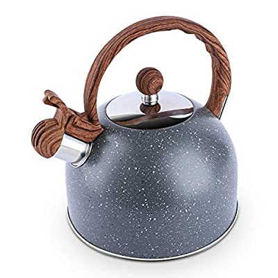 Tea Kettle, 2.3 Quart Tea Pot BELANKO Whistling Water Kettle, Food Grade Stainless Steel Teapot for Stovetops Gas Electric Induction with Wood Pattern Handle Loud Whistle - Gray