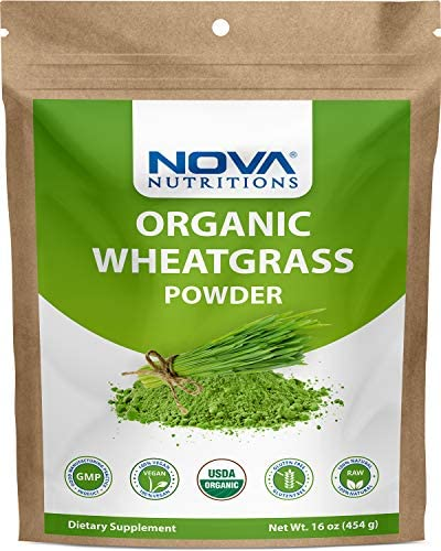 Nova Nutritions Certified Organic Wheat Grass Powder 16 OZ 454 gm Nutrient Rich Superfood product image