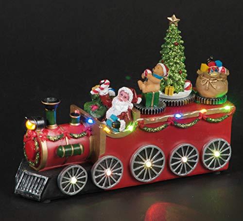 Das Gute Leben Atemberaubende Großes Weihnachtszugkarussell Weihnachtskarussell 24cm lang mit 3 rotierenden Karussells