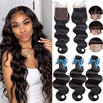 3 Bundles with Closure Brazilian Body Wave 14 16 18 with 12inch Free Part Virgin Human Hair LUXEDIVA 100% Unprocessed Remy Short Human Hair Extensions Weft Weave with Lace Closure Natural Color