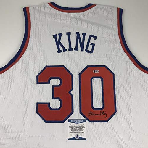 Autographed/Signed Bernard King New York White Basketball Jersey Beckett BAS COA