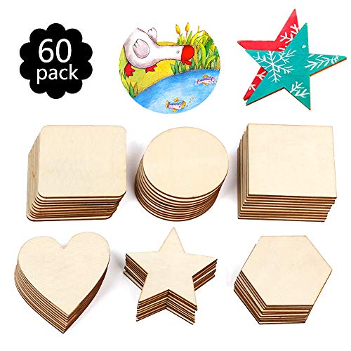 Various Shapes Blank Wood Pieces, 60Pcs 3.5 Inch Unfinished Wooden Slices for DIY Art Craft, Pyrography, Painting, Christmas Ornaments